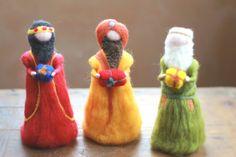 The three wise men, Magi, Needle felted, Nativity Set, Waldorf inspired, Bethlehem, Kings of the east, 3 kings, Needle Felt,Christmas, Decor...