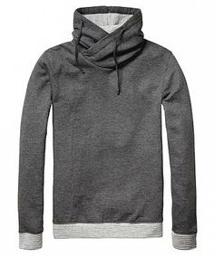 Scotch & Soda Twisted Hood Sweater-Charcoal Melange- Add a little detail to basic chino pants and a leather belt with this twisted hood sweater. Relaxed fit. Made of 80% polyester /20% cotton