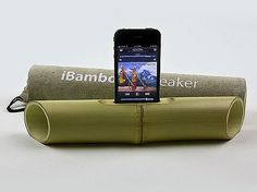Electricity-free iphone speaker, using bamboo to amplify the phone.  Genius idea, might have to make one for my phone.