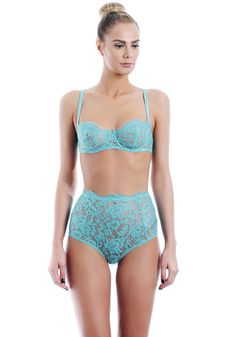 ALL LINGERIE :: SPRING SUMMER 16 :: TURQUOISE :: Underwired half cup bra