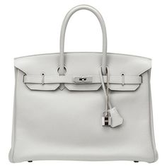Pre-owned Hermès Birkin Leather Tote (€9.985) ❤ liked on Polyvore featuring bags, handbags, tote bags, grey, gray leather purse, leather tote handbags, grey leather tote bag, leather tote bags and leather totes