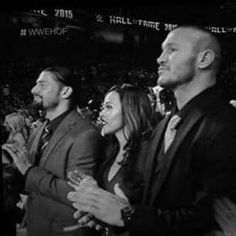 I don't know why I like this picture. Roman Reigns with his wife, Galina. Randy Orton on the end. Roman Reigns Wife, Wwe Couples, Shawn Michaels, Olivia Holt, Randy Orton, Wwe Superstars, Guilty Pleasure, Roman Empire, Romans