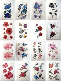 Temporary tattoo 12 sheets/lot rose lotus flower butterfly Set #2
