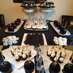 Black and white bridal shower ideas black + white bridal sho Black And White Party Decorations, Black White Parties, Black And White Theme, Black Party, 50th Birthday Party, Birthday Celebration, Birthday Ideas, White Party Foods, White Bridal Shower