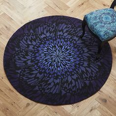British fashion designer Matthew Williamson lends his unique sense of chic to this stunning accent rug. Peacock Blue Bedroom, British Style, British Fashion, Fantasy Bedroom, Circle Rug, Eclectic Furniture, Eclectic Modern, Living Room Shop, Matthew Williamson
