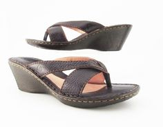 f55af4972f981c  Born Brown  Leather Thong Wedge  Sandals Low Heel US Size 11