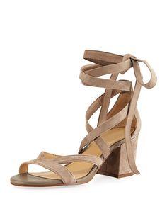 SAM EDELMAN Sheri Suede Ankle-Wrap Sandal. #samedelman #shoes #sandals