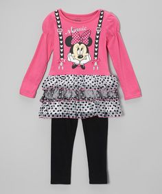 Take a look at this Pink Minnie Ruffle Tunic & Leggings - Girls on zulily today!
