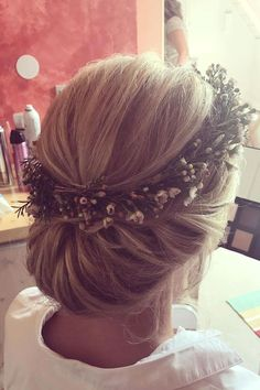 updo hairstyle with floral crown ,wedding hairstyles,hairstyle ideas for bride,wedding hair ideas