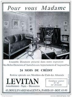 Original-Anzeige / Publicité 1955 - (en français) LEVITAN AMEUBLEMENT - PARIS -  ca. 90 x 120 mm