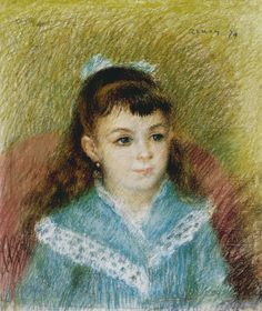 Pierre Auguste Renoir   Mädchenbildnis (Elisabeth Maître) - Portrait of a Young Girl (Elisabeth Maitre)   1879   Pastell auf Papier   Albertina, Wien - Sammlung Batliner #ModernArt #Art #Kunst #Masterpieces #MonetbisPicasso #MonettoPicasso