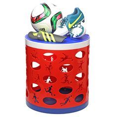 The Soccer Otto Storage Stool - great for the mudroom or your entrance area to store all your kids' soccer gear or for a soccer themed kids' room or a media or entertainment room with a sports theme. Made in the USA