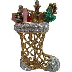 Vintage Christmas Stocking Pin Toys Rhinestones Enamel Hearts Brooch Pin