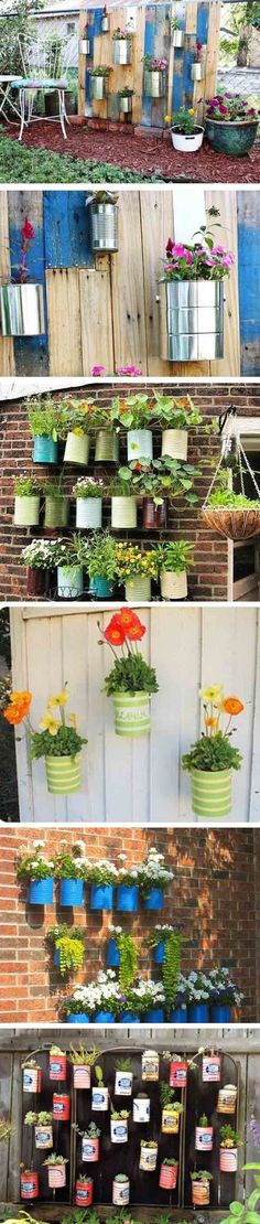 Jardines colgantes con latas Allotment shed – idea, anyone wanting inspiration? Allotment Shed, Allotment Gardening, Small Gardens, Outdoor Gardens, Wall Mounted Planters, Cute Garden Ideas, Recycled Tin Cans, My Secret Garden, Garden Planning