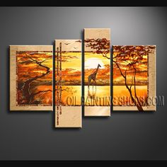 Huge Contemporary Wall Art Hand-Painted Art Paintings For Living Room Africa Landscape. This 4 panels canvas wall art is hand painted by Bo Yi Art Studio, instock - $168. To see more, visit OilPaintingShops.com