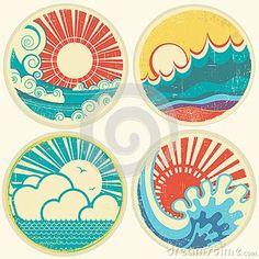 Vintage sun and sea waves. Vector icons of  illust by Geraktv, via Dreamstime
