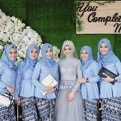 modest bridesmaids outfit ideas - Here is a roundup of 23 unique modest bridesmaid dresses ideas that can be worn well beyond the after-party. Model Kebaya Muslim, Muslim Dress, Hijab Gown, Hijab Style Dress, Modern Kebaya, Kebaya Lace, Bridal Hijab, Batik Fashion, Hijab Fashion Inspiration