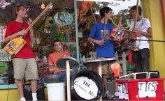 The Garbage Men - - a local band of  young guys who have made all their instruments out of recycled materials.  So fun to listen to.