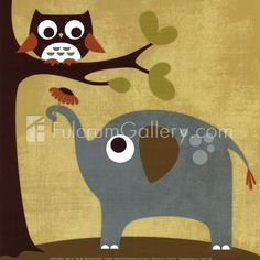 Sweet Elephat and Owl for the Wall
