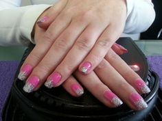 Gelish pink and silver ombre done by me :)