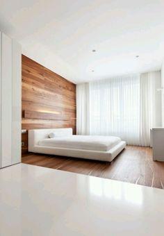 Yksinkertaista ja kaunista, joskin puuta on liikaa. Verhot!  Simple clean clear minimalist bedroom