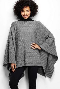 Women's Merino Blend Cable Cape from Lands' End