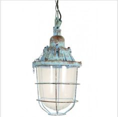 """Like a piece of sunken treasure, the Vintage Titanic Pendant Light will add a bit of nautical nostalgia to your home. Dimensions: 8.5 x 14"""" Wattage: 40 Celing canopy included"""