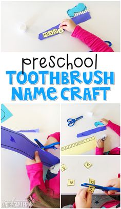 Plemons' Kindergarten This toothbrush name craftivity is fun for name and fine motor practice with a dental health theme. Great for tot school, preschool, or even kindergarten! Preschool Name Crafts, Preschool Activities, Preschool Plans, Preschool Pictures, Healthy Teeth, Healthy Habits, Healthy Bodies, Kindergarten, Dental Health Month