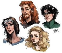 Founders of Hogwarts: Godric Gryffindor, Helga Hufflepuff, Rowena Ravenclaw, Salazar Slytherin