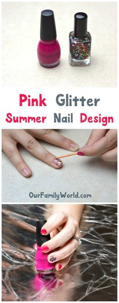I am absolutely crazy about glitter nail designs! Theyre so much fun! If you love all the beautiful summer nail designs but dont have time to do elaborate nail art, you need to try these easy pink nail designs! Theyre beautiful and classy! Pink Nail Designs, Simple Nail Designs, Nails Design, Diy Beauty, Beauty Hacks, Beauty Tips, Beauty Ideas, Pink Glitter Nails, Nail Tutorials