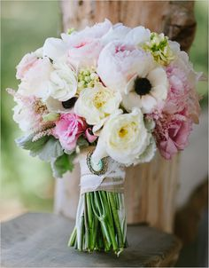 pink and white wedding bouquet- pretty and romantic