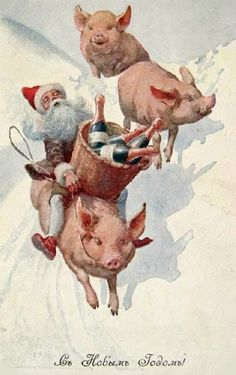 57 Trendy Ideas Vintage Cards Victorian New Years Vintage Christmas Cards, Vintage Cards, Vintage Postcards, A Christmas Story, Christmas Art, Happy Pig, Pig Art, Happy New Year Cards, Time Pictures