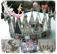 a Tiara created with snippets from your journal, antique letters, old family photographs, heirloom hankies, porcelain doll parts, even a discarded poptart box