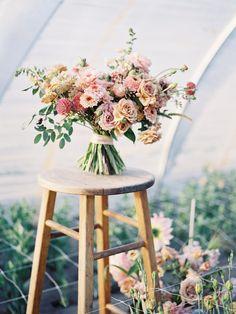 DIY Garden Inspired Wedding Bouquet Such beautiful gestures in this bouquet of dusty pinks, corals, Bride Bouquets, Flower Bouquet Wedding, Floral Bouquets, Bridesmaid Bouquet, Floral Wedding, Diy Wedding, Wedding Ideas, Simple Wedding Bouquets, Maroon Wedding