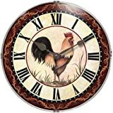 This wall clock has a thin silver frame. The face of the clock has a rooster, Roman numerals and a decorative maroon border. The hands are made of metal and have the traditional tear drop shape. This clock has a convex lens. Big Wall Clocks, Kitchen Wall Clocks, Unique Wall Clocks, Rooster Kitchen Decor, Rooster Decor, Jenny's Kitchen, Chicken Kitchen, Kitchen Stuff, Country Kitchen