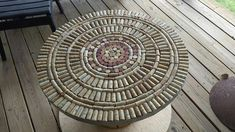 Wine cork table from wooden spool