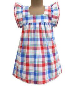 2568a3f620af Frais Madras Check Angel-Sleeve Dress - Infant Toddler   Girls Angel Sleeve
