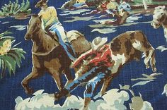 COWBOY Western Vintage Barkcloth Fabric. Like this for my little ones room.