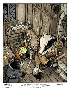 Wind in the Willows: Chapter 12: The Return of Ulysses: Toad, Mole, Rat and Badger in the Butler's Pantry. More info and a full art process on my blog: http://davidpetersen.blogspot.com/2017/01/wind-in-willows-butlers-pantry-color.html