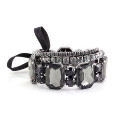 Black Rectangular Stones Stretch Bracelet