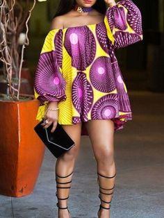 Off Shoulder Print Geometric Lantern Sleeve Long Sleeve Women's Blouse - Fashion - Women African Fashion Ankara, Latest African Fashion Dresses, African Inspired Fashion, African Print Fashion, Africa Fashion, Modern African Fashion, Short African Dresses, African Print Dresses, African Blouses