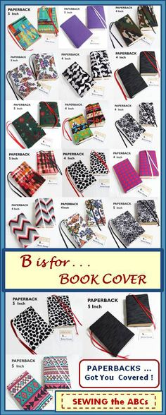 """STRETCH Paperback Book Covers . . . $8-$9 ea. . . . 4"""", 5"""", and 6"""" Sizes available . . . by #SEWINGtheABCs on Etsy . . . Mass Market Size, Trade Size, book addict, book addiction, book obsessed, book accessories,  fabric book cover"""