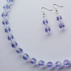 d4351673c2a01b Lilac blue vintage bead drop earrings and beaded necklace gift set