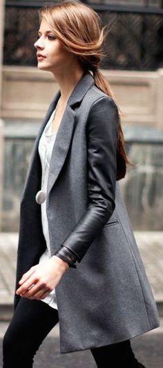#street #style gray + leather coat @wachabuy