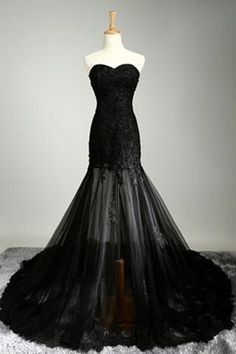 Black tulle lace sweetheart see-through mermaid floor -length prom dresses…