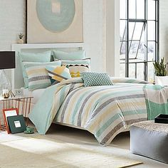 Superbe Transform Your Bedroom Into A Soothing Sanctuary With The KAS ROOM Greta  Comforter. Adorned With A Simple Stripe Design In Cool Teal, Yellow, Grey  And White ...