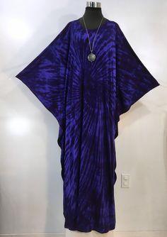 Purple tie dye one size plus bamboo blend caftan, kaftan. by qualicumclothworks on Etsy Purple Fabric, Caftans, Deep Purple, Cotton Spandex, Arm Warmers, Bamboo, Overalls, Tie Dye, Sari