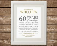 60th Anniversary Gift, Diamond Anniversary, Anniversary Gift, Anniversary Gift for Parents, Anniversary Stats Printable, Custom Colors by TangledTulip on Etsy https://www.etsy.com/listing/264356887/60th-anniversary-gift-diamond