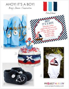 """Ahoy! It's a Boy!"" Preppy Nautical Baby Shower Inspiration Board - perfect for a summer #babyshower! #nautical"