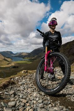 """""""Rave all night, Ride all day"""", introducing Meg Wyte's Custom Nukeproof Mega 275c. She's a Downhill and Enduro racer, gravel rider and full-time manager of a local bike shop. Meg Whyte is an example of someone who lives, breaths and loves bikes. A love born from seasons """"living the MTB dream"""" in Morzine and cemented by life as a student in North Wales. Custom bike by EliteRefinish. Women's Cycling Jersey, Cycling Jerseys, Cycling Shorts, Cycling Outfit, Best Mountain Bikes, Mountain Bike Trails, Womens Cycling Kit, Electric Mountain Bike, Custom Bikes"""